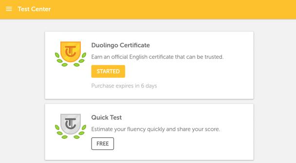 Сертификат Duolingo. Получайте официальный сертификат о прохождении курса английского языка, которому доверяют. Быстрый тест. Оцените ваш уровень владения языком и делитесь результатом.