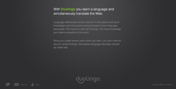 Лендинг Duolingo в 2011 году: «С Duolingo вы изучаете язык и одновременно переводите Интернет»