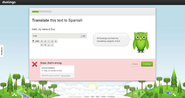 Скриншот с сайта Duolingo: «Переведите текст на испанский»