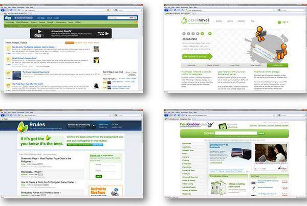 Рисунок 10: мода на веб-дизайн постоянно меняется. Популярность дизайнерской тенденции, называемой «стилем Web 2.0», достигла максимума в 2007 году и с тех пор снижается.
