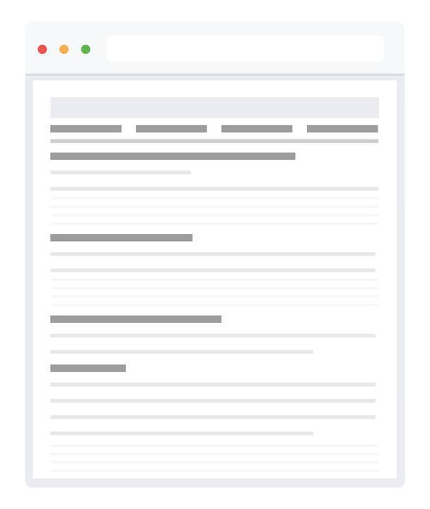 Структурируя страницу, помните, что посетители изучают контент слева направо, сверху вниз — в форме буквы F.