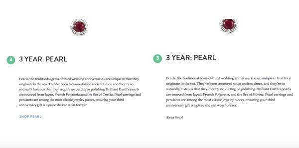 две версии страницы ювелирного интернет-магазина