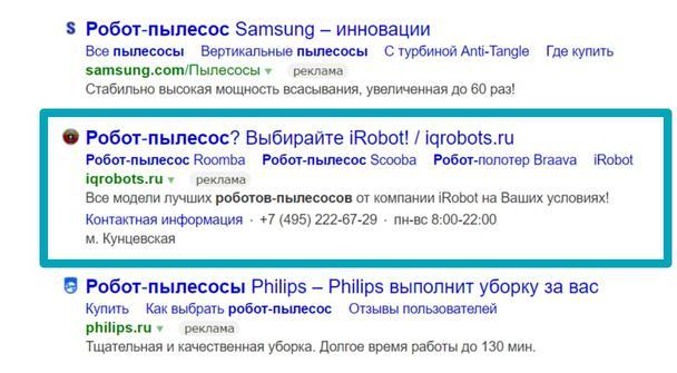 Результаты поиска по запросу «Робот-пылесос»: второй вариант доменного имени наиболее точно соответствует искомому продукту