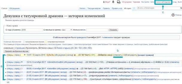 Страница истории правок в Википедии.