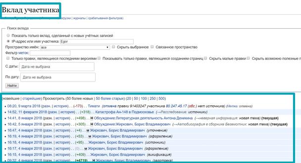 На странице вклада участника перечислены все изменения, внесенные им в Википедию, а страница обсуждений позволяет общаться с этим пользователем.