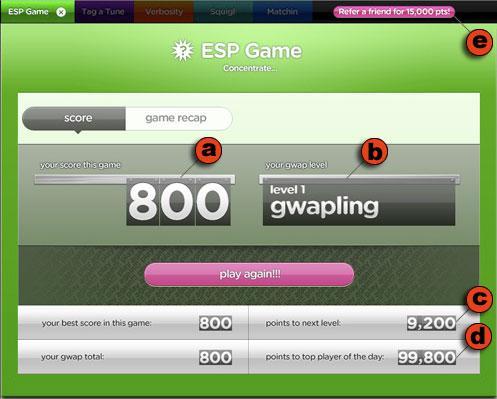Окно оценки ESP Game.