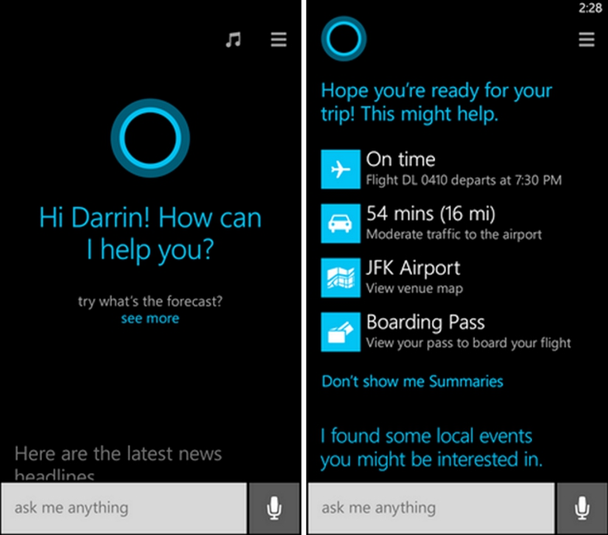«Человечный» интерфейс голосового помощника на Windows 10, Cortana
