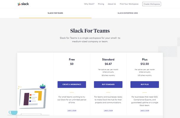 Секрет ценообразования Slack скрыт на их странице с ценами