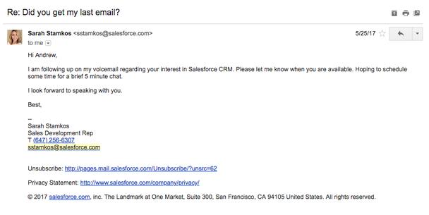 В продолжение моего голосового сообщения относительно вашей заинтересованности в CRM от Salesforce.