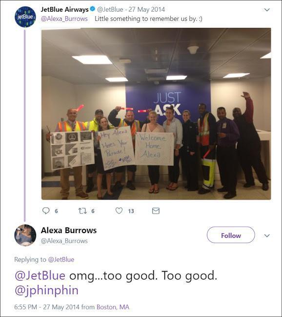 JetBlue: «А вот кое-что от нас на память». Алекса: «О боже, JetBlue, это слишком. Слишком хорошо»