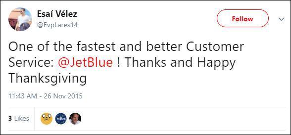 Исай: «Одна из самых быстрых и лучших служб поддержки клиента у JetBlue! Спасибо и счастливого Дня благодарения!»