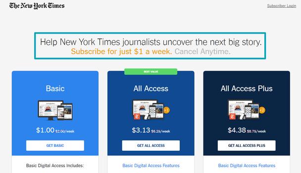 Иллюстрация к статье: Ценообразование: разбор тарифной страницы The New York Times