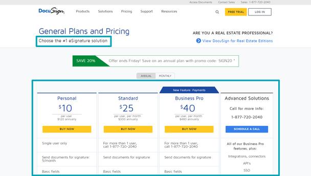 «Общие пакеты предложений и стоимость. Выберите решение для электронных подписей №1»