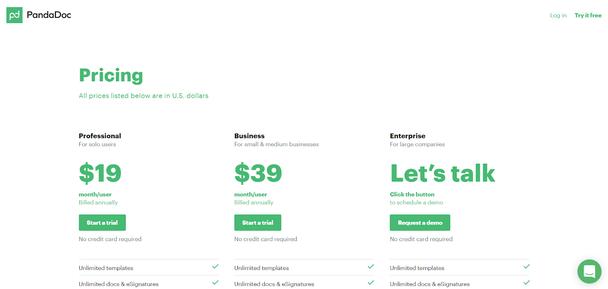 Цены. «Профессиональный» — для пользователей-одиночек ($19 месяц/за пользователя). «Бизнес» — для малого и среднего бизнеса ($39 месяц/за пользователя). «Поговорим о цене» — для крупных компаний (нажмите на кнопку, чтобы договориться о получении демоверсии)