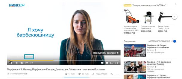 кликабельная зона CTA в рекламе онлайн-гипермаркета Ozon.ru отмечена красной рамкой
