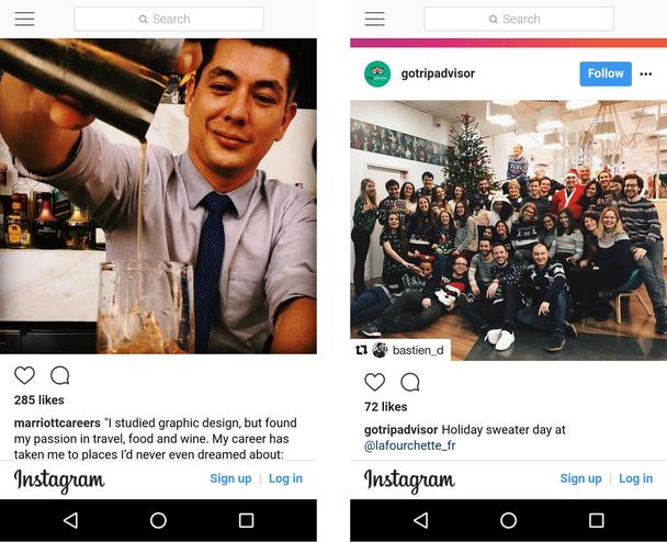 Marriott и Tripadvisor, ведущие бренды в своих индустриях, часто размещают в Instagram контент, связанный с культурой компании