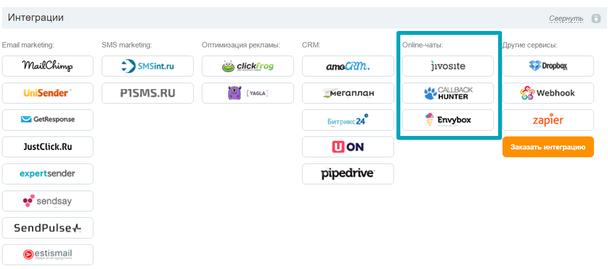 Платформа LPgenerator поддерживает интеграцию с самыми популярными сервисами онлайн-чатов