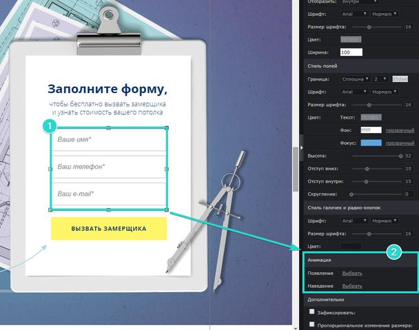 Кликните по полям формы и найдите пункт настроек «Анимация» в правой панели редактора