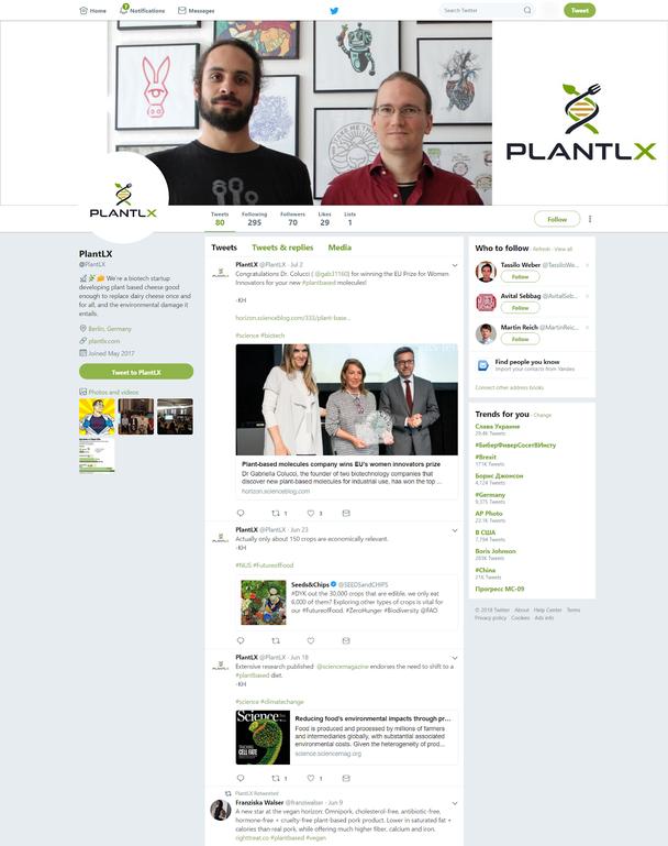 Твиттер-страница компании PlantLX
