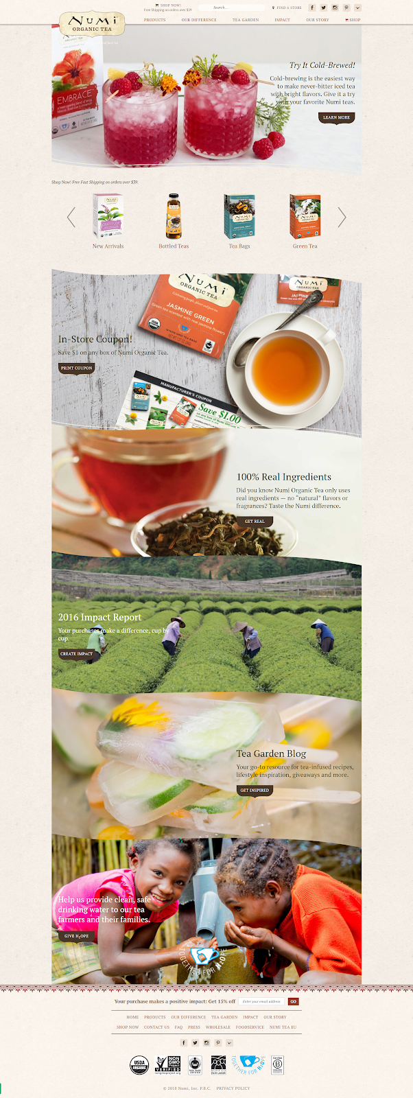 Главная страница Numi Tea выполнена в «экостиле»