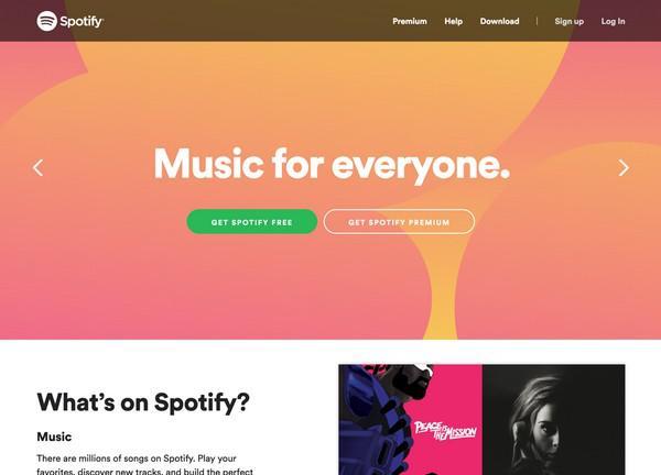 Spotify: «Музыка для всех. Открывает доступ к миллионам треков»