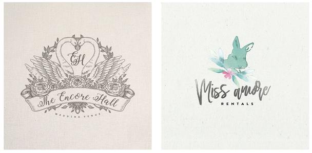 Иллюстрированные свадебные логотипы