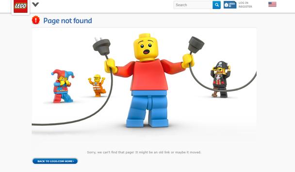 Lego: дружелюбная страница 404