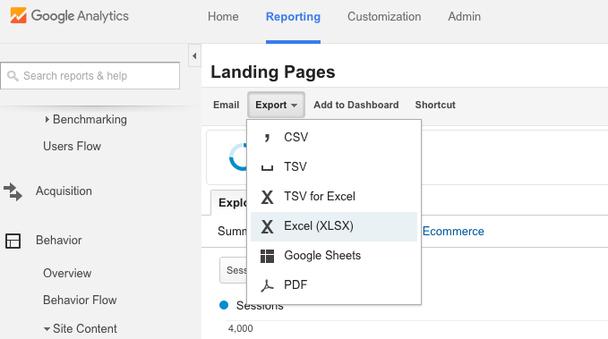 Экспортируйте данные для анализа в Excel или таблицы Google