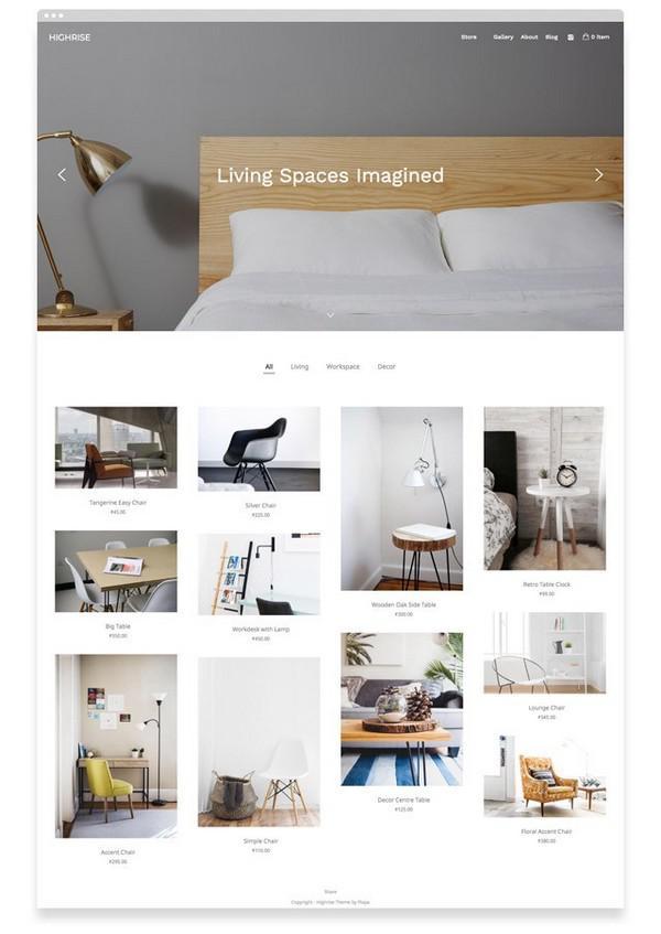 Highrise — тема интернет-магазина от сервиса Pixpa