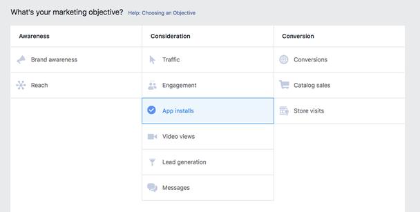 Откройте Facebook Ads Manager, создайте новую кампанию и выберите App installs в качестве маркетинговой цели.