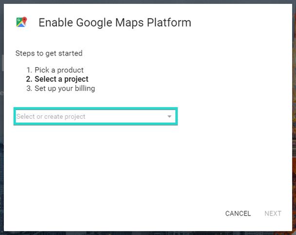 Кликните мышью в пределах поля «Select or create project»