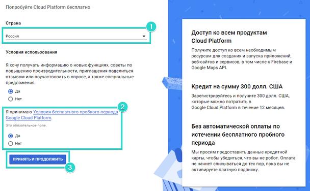 Заполните предложенную форму, ознакомьтесь с условиями использования сервиса и кликните «Принять и продолжить»