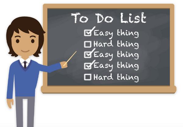 Отсутствие приоритезации: в списке задач (To Do List) как выполненные отмечены только «простые вещи» (Easy thing(s)), не оказывающие особого влияния на рост бизнеса.