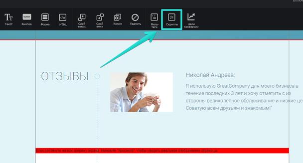 обавьте мета-тег на лендинг, расположенный по адресу домена с помощью инструмента «Скрипты».