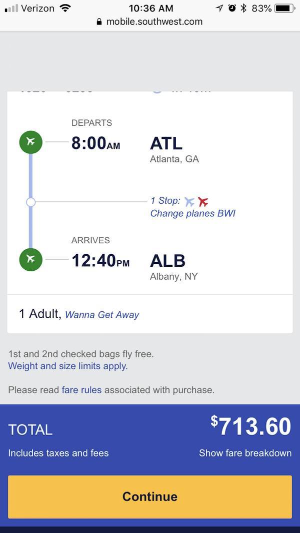 Конечная стоимость полета от Southwest Airlines оказывается выше стоимости билета за рейс