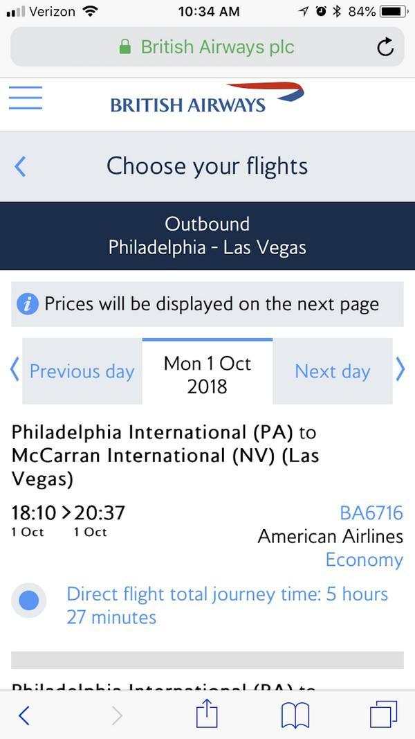 British Airways предлагает вам сравнивать между собой рейсы по длительности полета. У вас нет возможности выбрать билет, который соотносится с вашим бюджетом. О ценах вы узнаете позже, когда уже что-то себе выберете