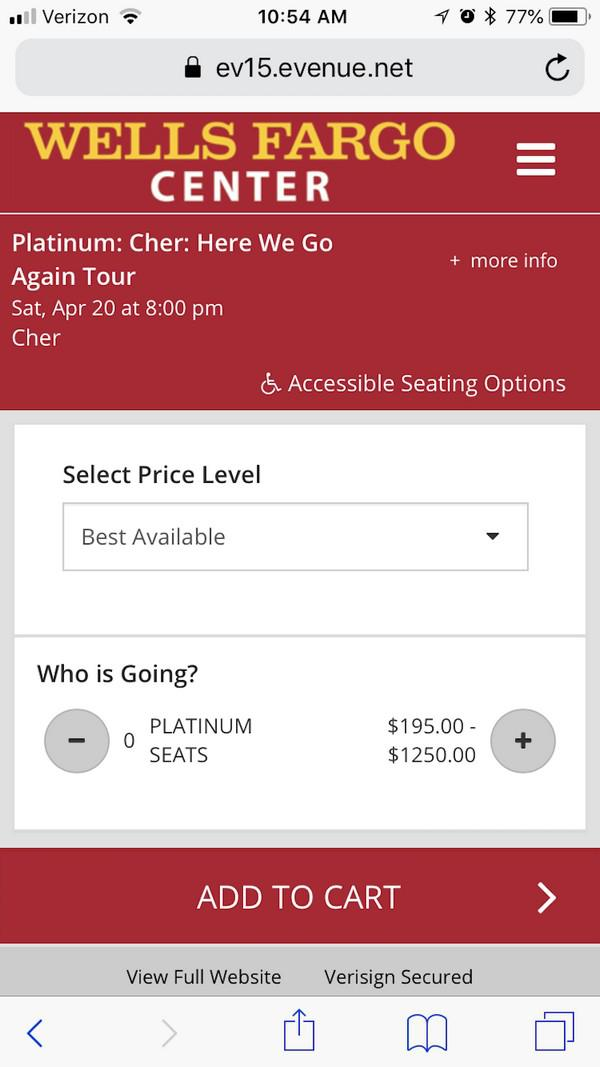 Форма покупки билетов в Wells Fargo Center