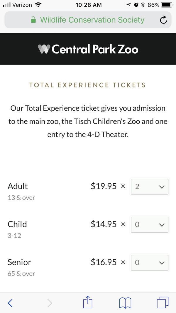Покупайте билеты в зоопарк Центрального парка онлайн