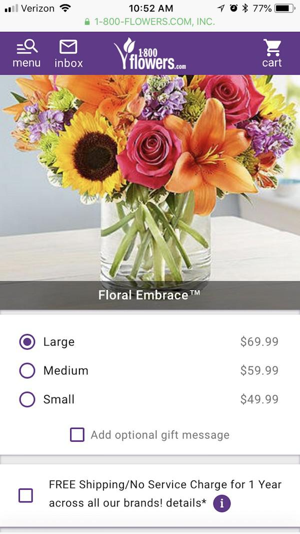 Процесс заказа цветов в 1-800-Flowers