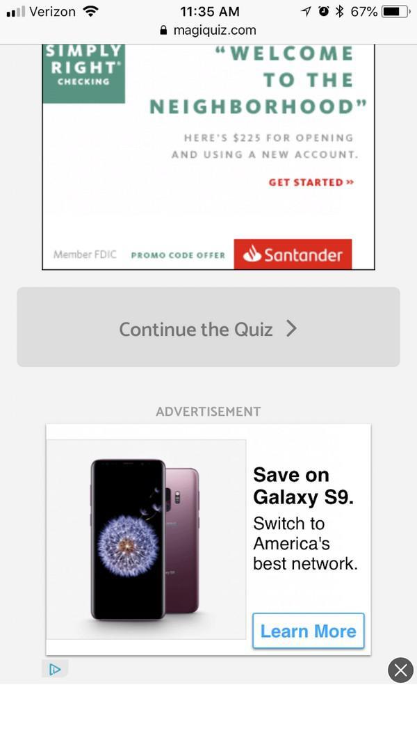 Кнопка «Продолжить» затаилась между двумя рекламными блоками и указывает на то, что это еще не конец викторины