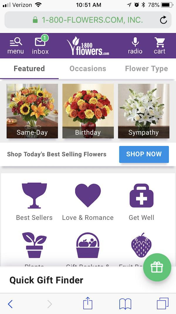 1-800-Flowers уведомляют вас о том, что в почтовом ящике у вас есть непрочитанное сообщение