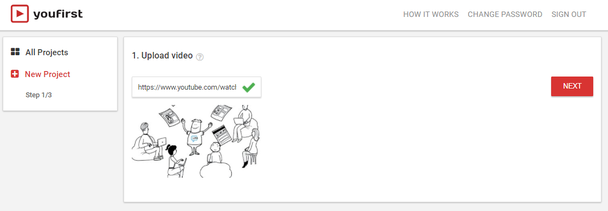 Вставьте ссылку на свое YouTube-видео в веб-сайт YouFirst, чтобы создать новый проект.