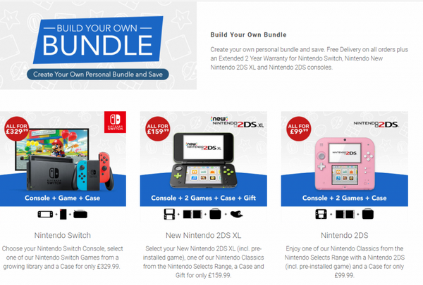 Nintendo предлагает потенциальному покупателю сформировать свой собственный комплект.