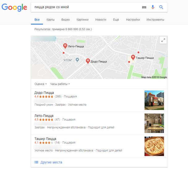 Основанный на местоположении поиск по запросу «пицца рядом со мной»