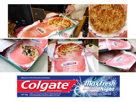 Colgate использует рекламу зубной пасты на коробках с пиццей