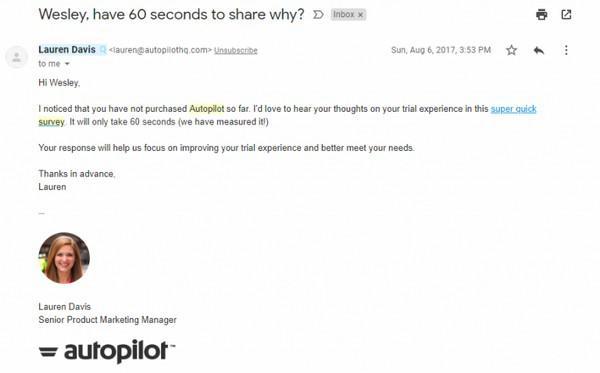 Привет. Я заметил, что ты не стал покупать подписку на Autopilot. Не мог бы ты поделится своим опытом пробной работы с сервисом? Опрос займет не больше минуты