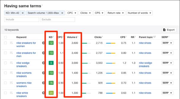 фильтры поиска для объема поиска (Search Volume) и сложности ключевых слов (KD)