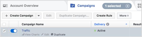 Если навести указатель мыши на название кампании, название группы объявлений или название объявления, вы получите доступ к ссылкам для просмотра диаграмм, редактированию или дублированию.