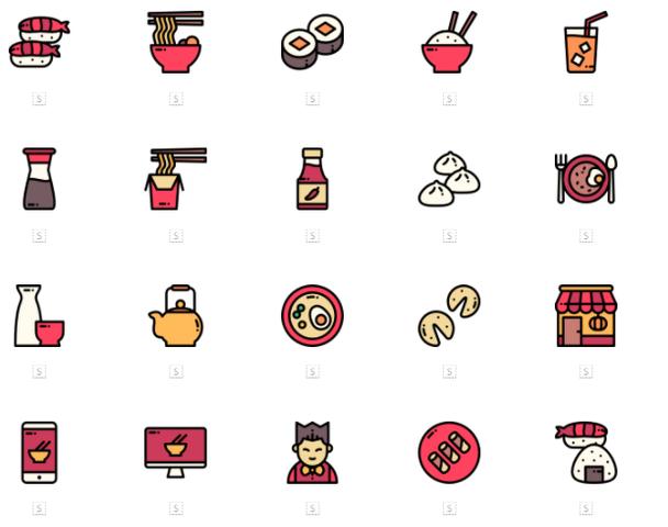 Набор иконок азиатской кухни