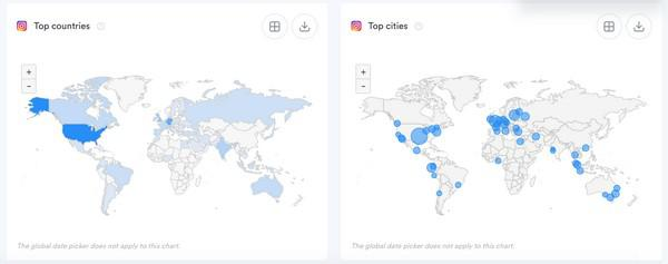 Карта распределения подписчиков по странам из Iconosquare, найденный в разделе Аналитика → Сообщество
